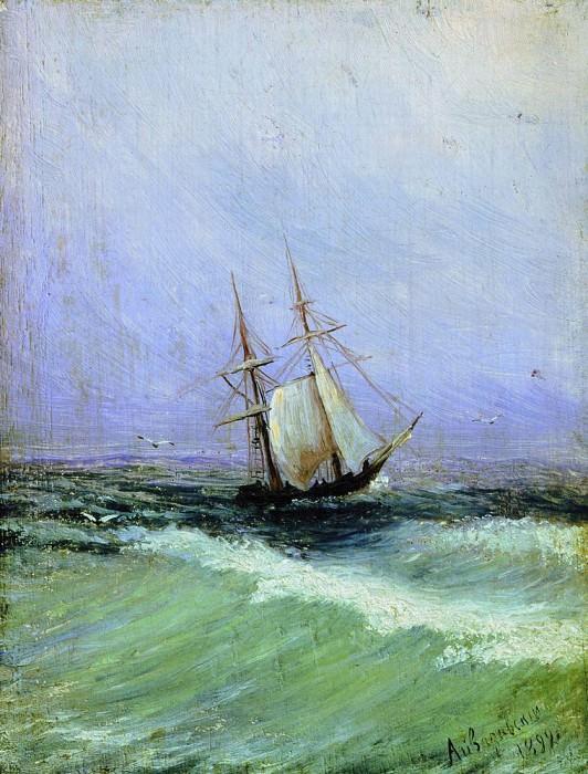 Marina 1892. Wood 1892 14,6 x11, 2. Ivan Konstantinovich Aivazovsky