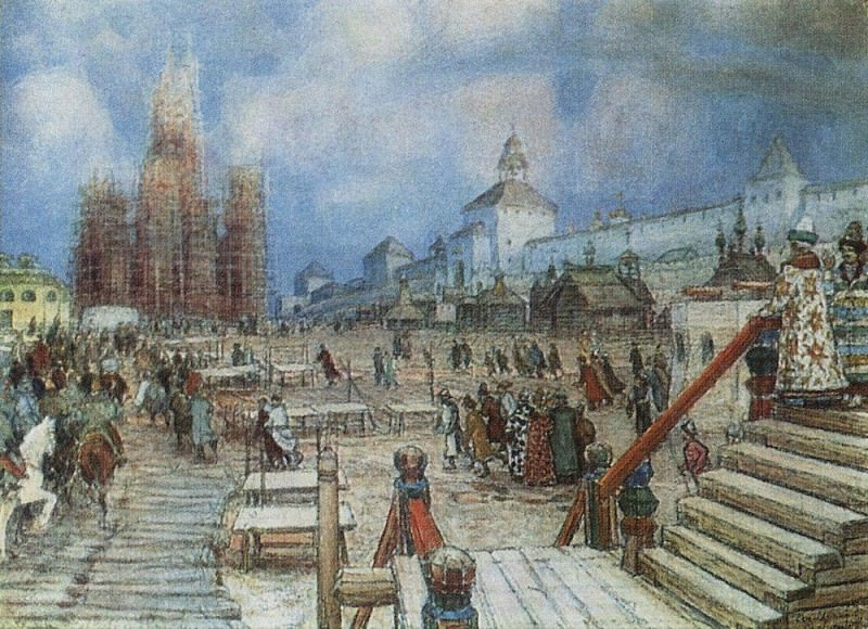 Moscow under Ivan the Terrible. Red Square. 1902. Apollinaris M. Vasnetsov