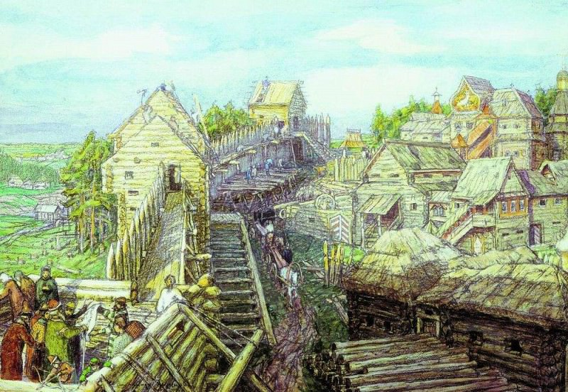 Construction of wooden walls of the Kremlin. XII century. 1903. Apollinaris M. Vasnetsov