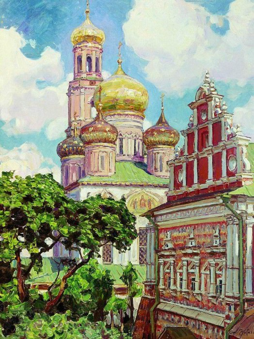 Simonov Monastery. Clouds and golden domes. 1927. Apollinaris M. Vasnetsov