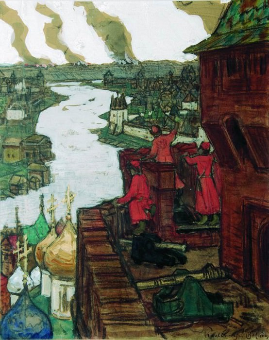 Tatars go. End of XIV century (they come! Tatar raids on Moscow). 1909. Apollinaris M. Vasnetsov