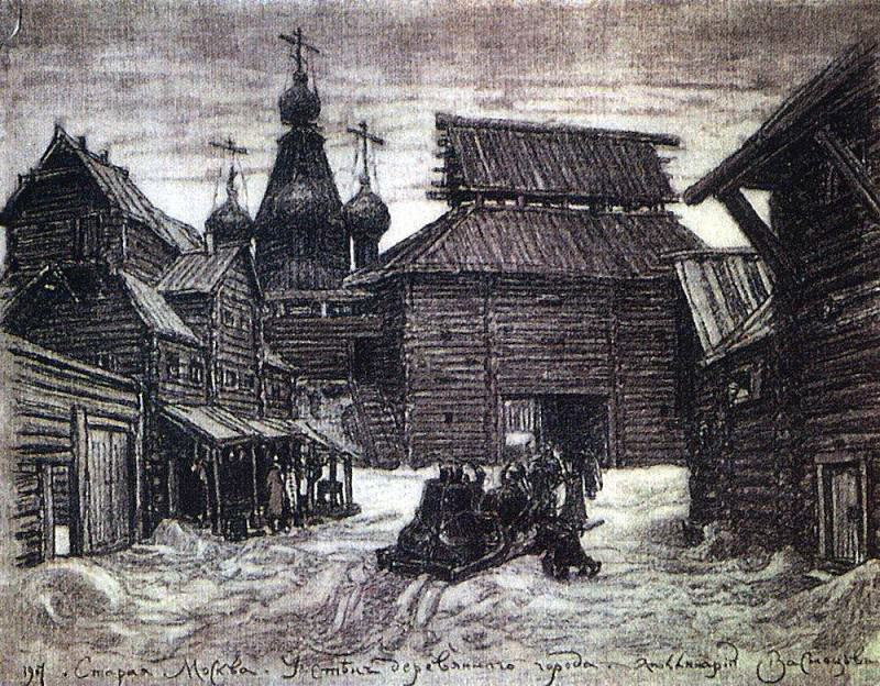 the walls of the wooden town. 1907. Apollinaris M. Vasnetsov