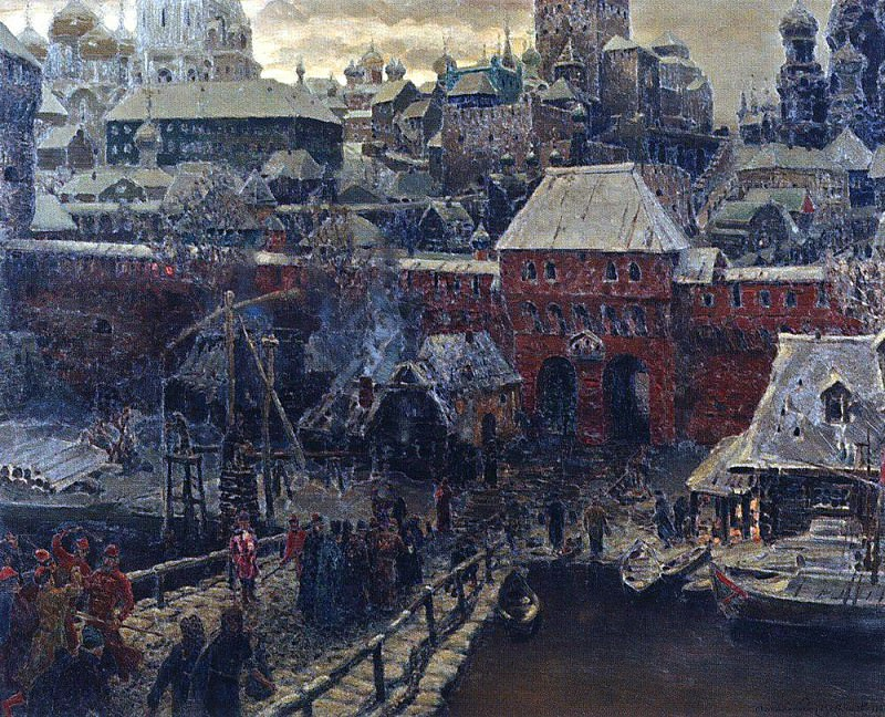 Moscow middle of XVII century. Moskvoretsky Bridge and the Water Gate. 1900. Apollinaris M. Vasnetsov