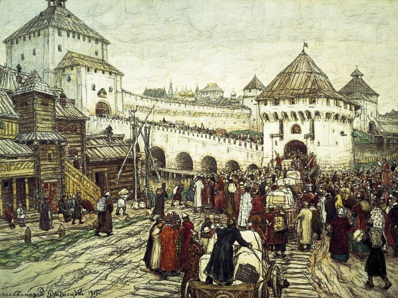 В осадное сиденье. Троицкий мост и башня Кутафья. 1915. Аполлинарий Михайлович Васнецов