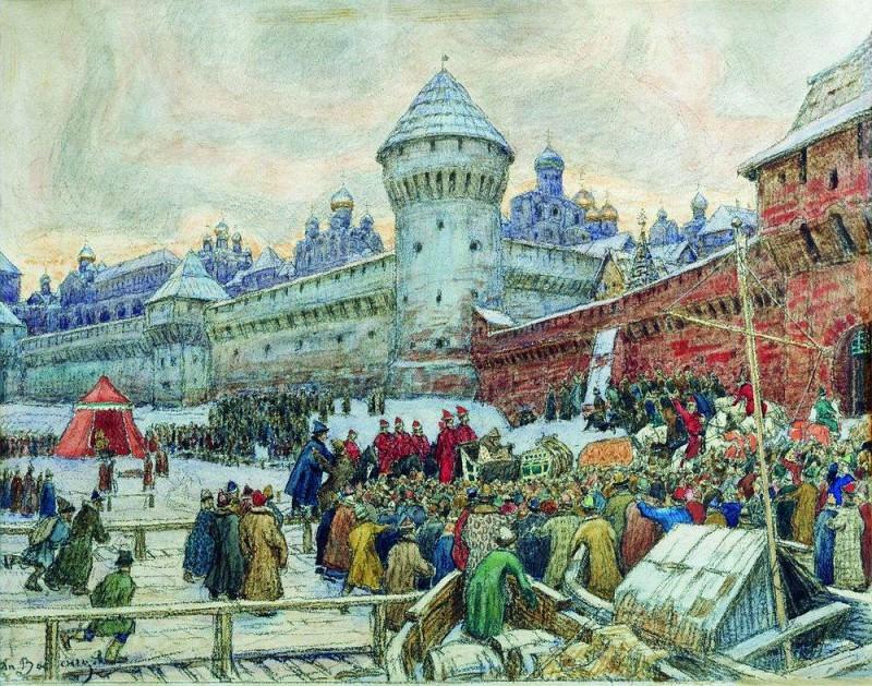 Старая Москва. Отъезд с кулачного боя. 1900-е. Аполлинарий Михайлович Васнецов
