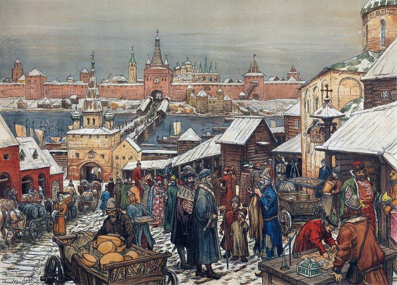 Bargaining in Nizhny Novgorod. 1908-1913. Apollinaris M. Vasnetsov