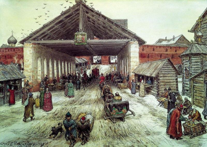Resurrection bridge in the XVII century. 1921. Apollinaris M. Vasnetsov