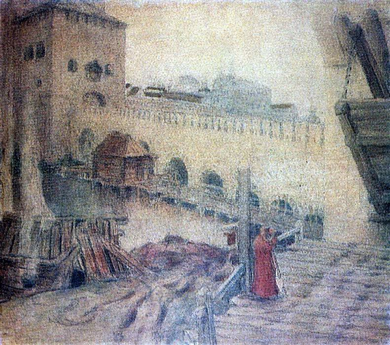 Trinity Bridge near Kutafia towers and drawbridge. Apollinaris M. Vasnetsov