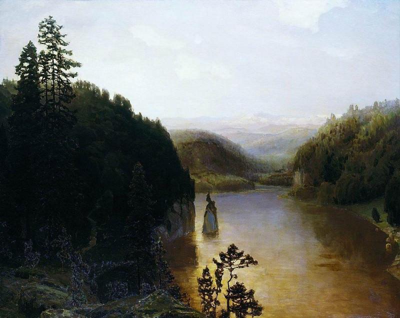 Lake in the mountains of Bashkortostan. Ural. 1895. Apollinaris M. Vasnetsov