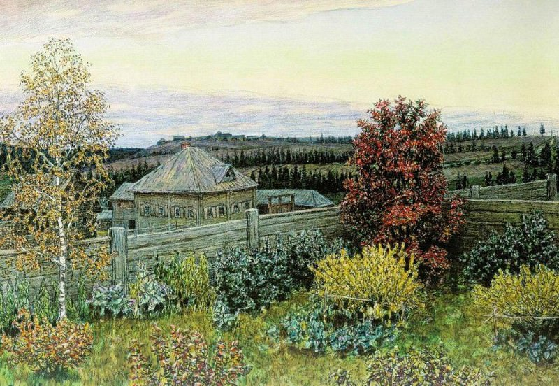 view from the dining-room window. Ryabovo. 1919. Apollinaris M. Vasnetsov