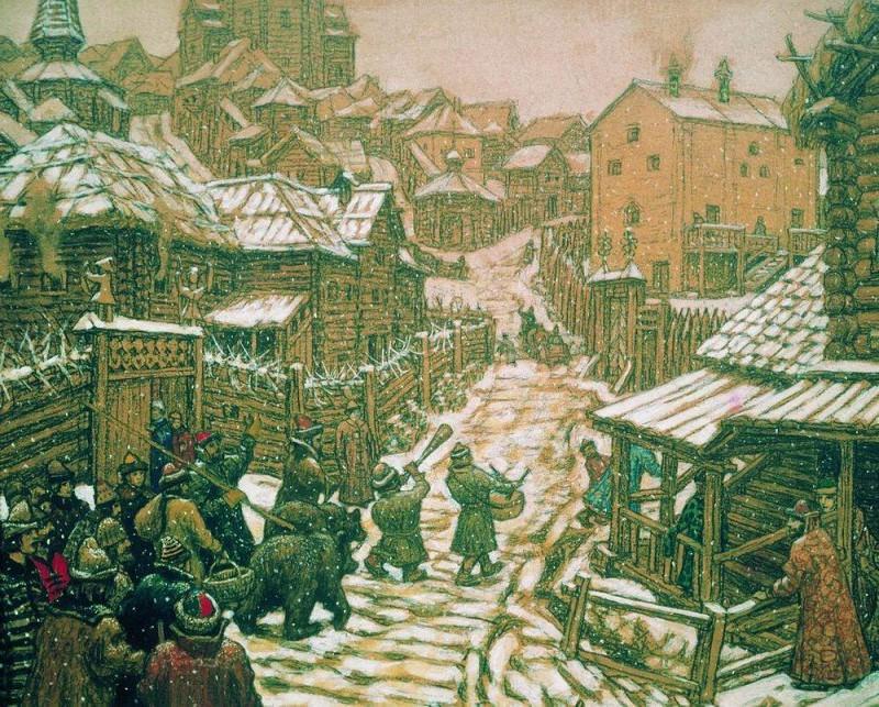 Медведчики (развлечение). Старая Москва. 1911. Аполлинарий Михайлович Васнецов