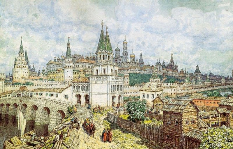 Rise of the Kremlin. Saints Bridge and the Kremlin at the end of XVII century. 1922. Apollinaris M. Vasnetsov