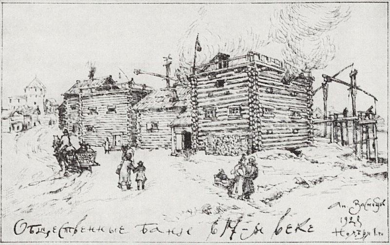 Общественные бани в Москве в XVII веке. 1922. Аполлинарий Михайлович Васнецов