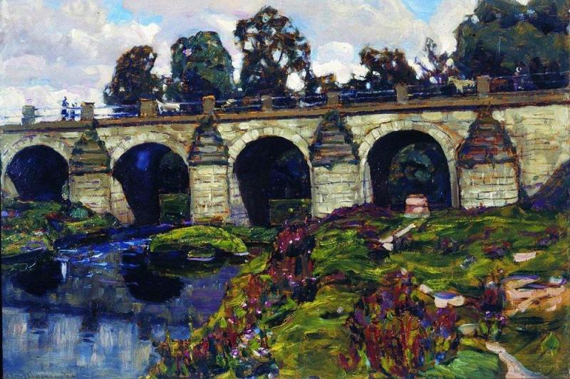 Palace of XVIII century bridge across the river Yauza. Lefortovo. 1920. Apollinaris M. Vasnetsov
