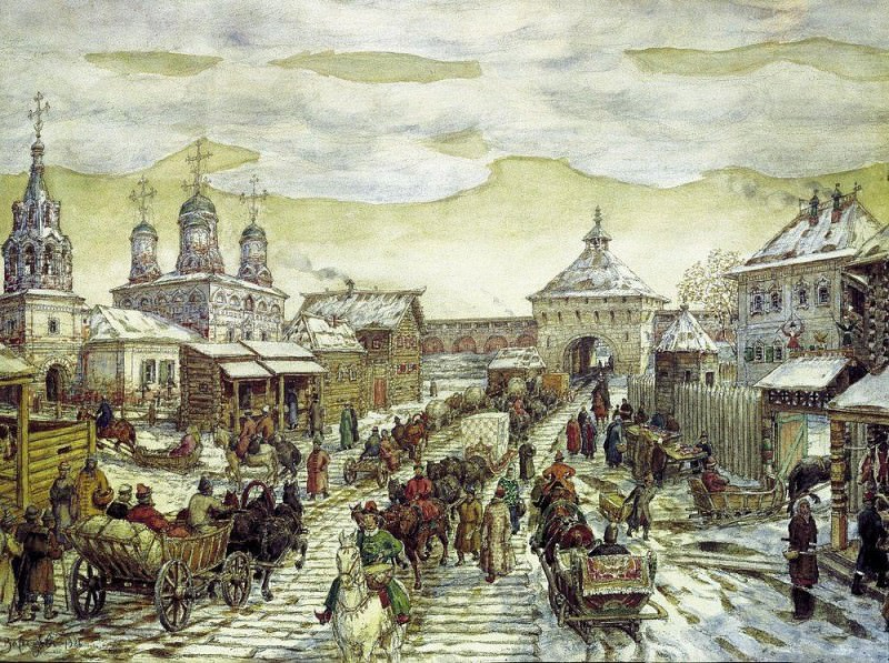 У Мясницких ворот Белого города в XVII веке. 1926. Аполлинарий Михайлович Васнецов