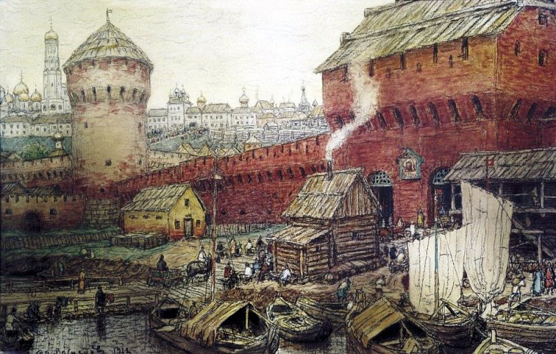 Spassky Water Gate Chinatown in the XVII century. 1922. Apollinaris M. Vasnetsov