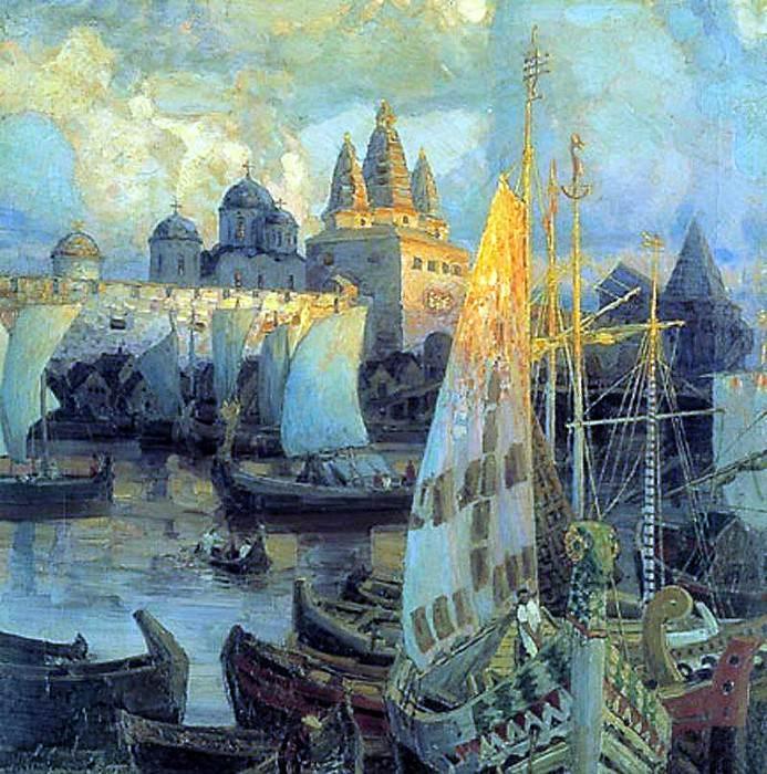 Varangian ships in Veliky Novgorod. 1902. Apollinaris M. Vasnetsov