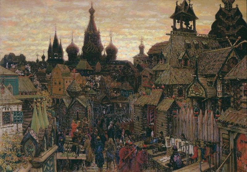 Street in China Town. Beginning of the XVII century. 1900. Apollinaris M. Vasnetsov