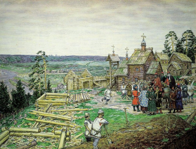 Founding Kremlin. Construction of new walls of the Kremlin Yuri Dolgoruky in 1156. 1917. Apollinaris M. Vasnetsov