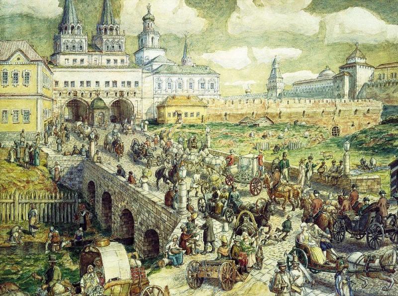 public transport in the Resurrection bridge in the XVIII century. 1926. Apollinaris M. Vasnetsov