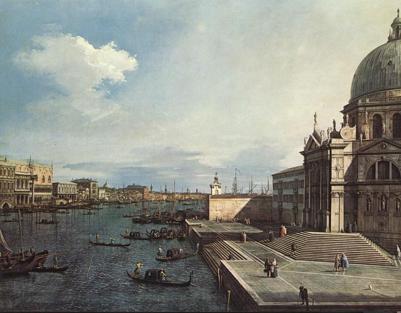 The Grand Canal at the Salute Church. Canaletto (Giovanni Antonio Canal)