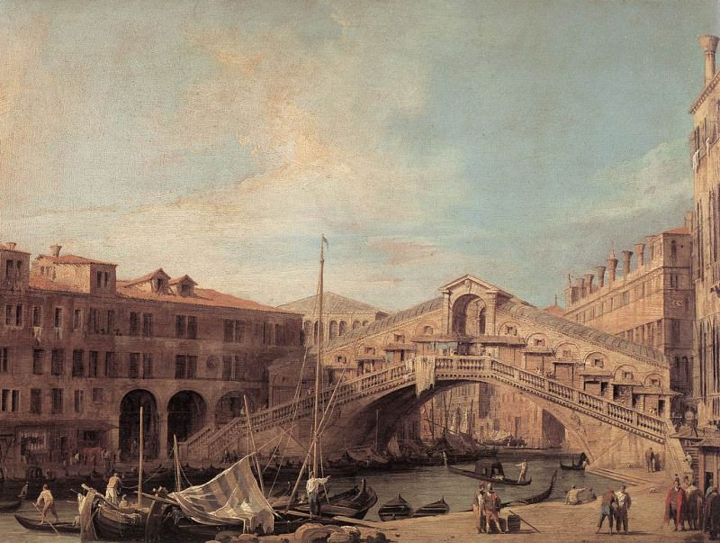 Grand Canal The Rialto Bridge From The South. Canaletto (Giovanni Antonio Canal)