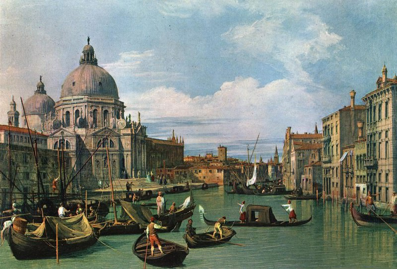The Grand Canal and the Church of the Salute. Canaletto (Giovanni Antonio Canal)