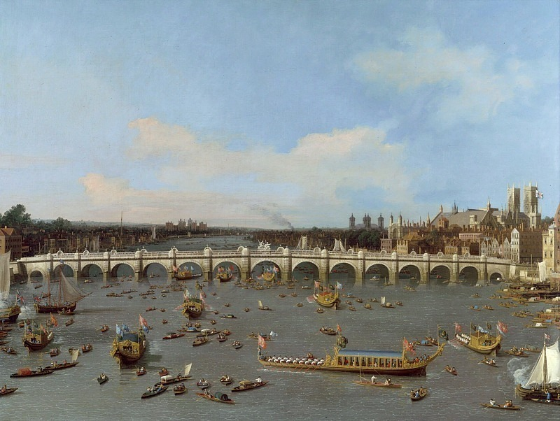 london, westminster bridge from the north on lord mayors day, 19 october 1746. Canaletto (Giovanni Antonio Canal)