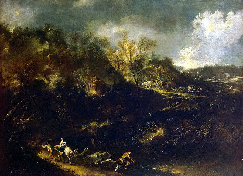 Magnasco, Alessandro. Landscape with a road in the mountains. Hermitage ~ part 08