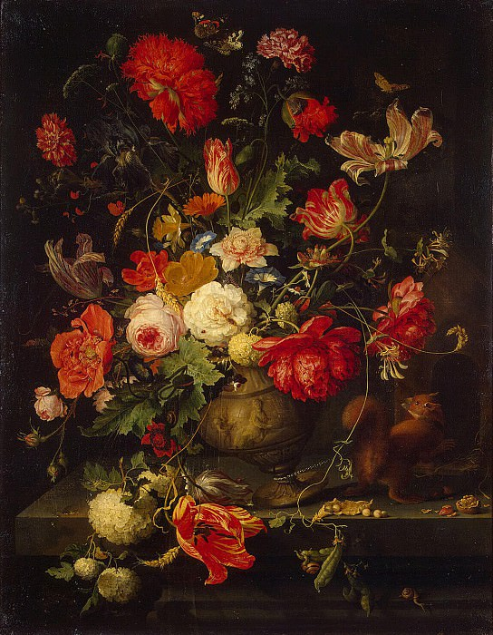 Mignon, Abraham. Flowers in a Vase. Hermitage ~ part 08