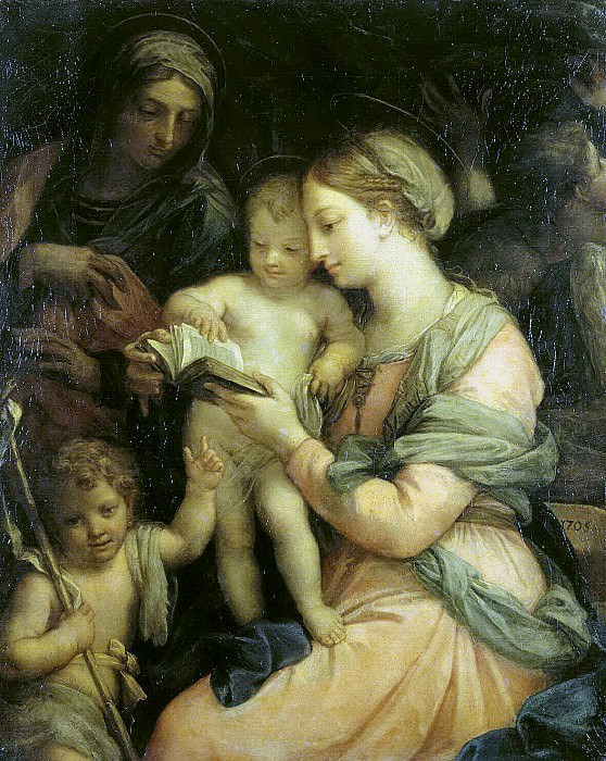 Maratti, Carlo. Madonna teaches reading Christ. Hermitage ~ part 08