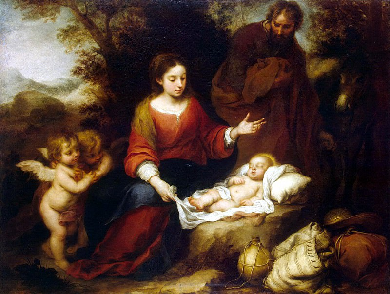 Murillo, Bartolome Esteban. Rest of the Holy Family on the Flight into Egypt. Hermitage ~ part 08