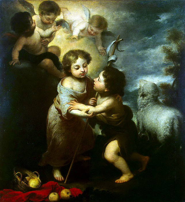 Murillo, Bartolome Esteban. Christ and John the Baptist as a child. Hermitage ~ part 08