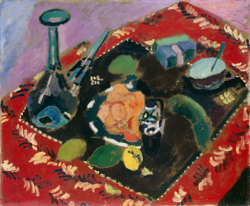 Matisse, Henry. Dishes and Fruit on a red-black carpet. part 08 Hermitage