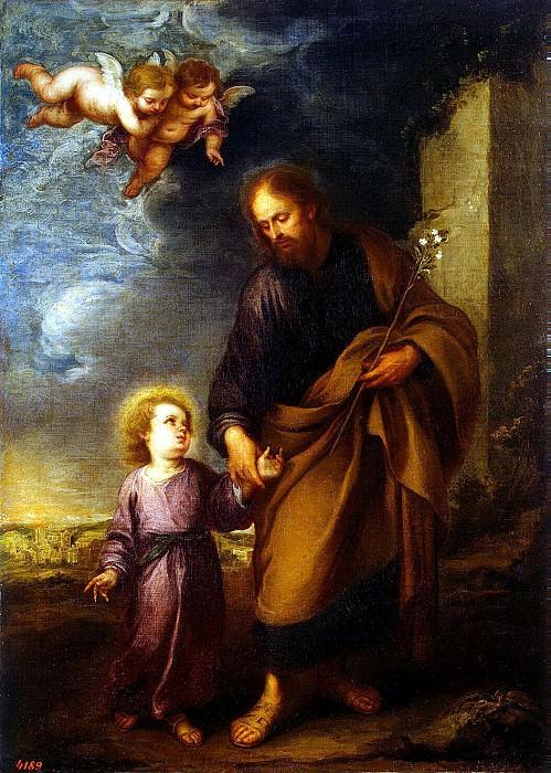 Murillo, Bartolome Esteban. St. Joseph, leading by the hand Baby Jesus. part 08 Hermitage