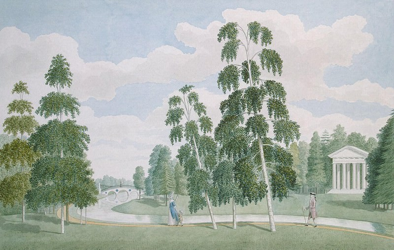 Meader, James. English Park in Peterhof. View from Birch house. Hermitage ~ part 08