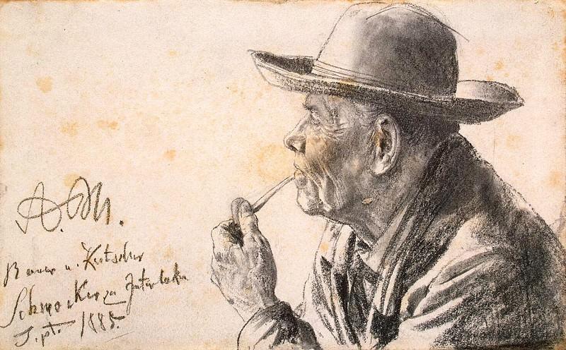 Menzel, Adolf von. Sketch of an elderly man in a hat and a pipe. Hermitage ~ part 08