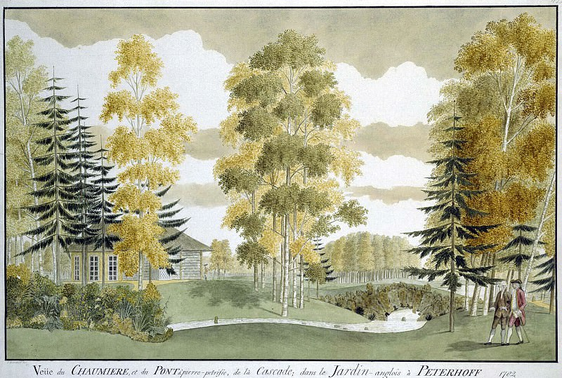 Meader, James. English Park in Peterhof. View from the portico. Hermitage ~ part 08