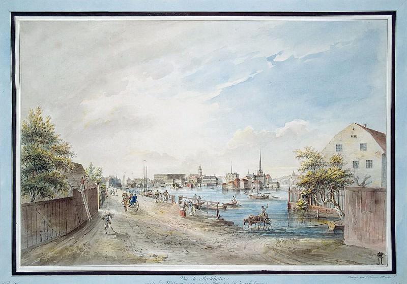 Мартин, Йоханн Фредрик - Вид Стокгольма с моста Конгсхольмен, близ озера Маларен. Эрмитаж ~ часть 8