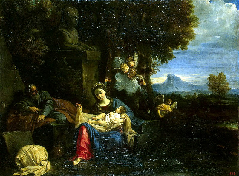 Mola, Pier Francesco. Rest of the Holy Family on the Flight into Egypt. Hermitage ~ part 08