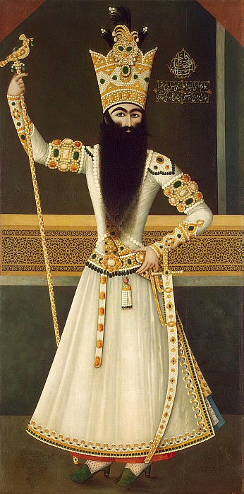 Mihr Ali. Portrait of a standing Fath Ali Shah. part 08 Hermitage
