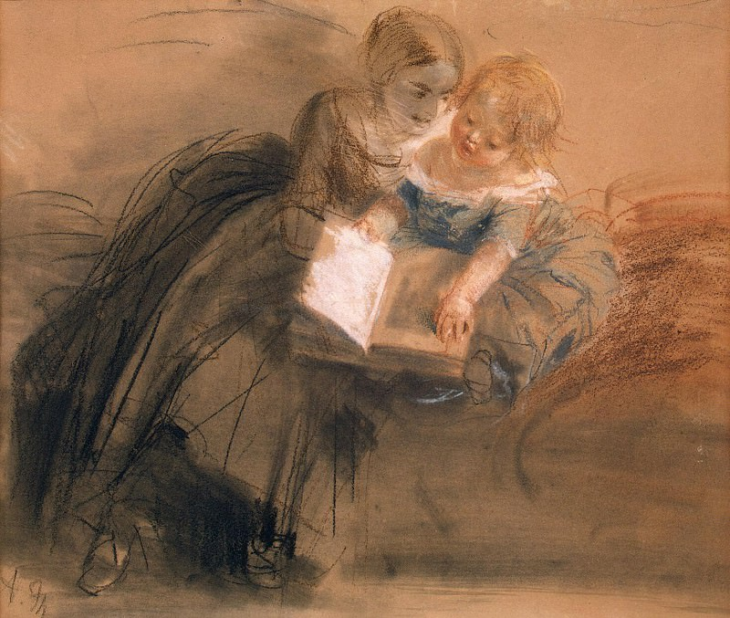 Menzel, Adolf von. A young woman with a child. Hermitage ~ part 08