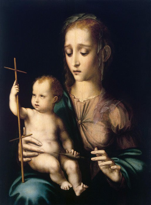 Morales, Luis de. Madonna and Child with spinning wheel in the form of a cross. Hermitage ~ part 08