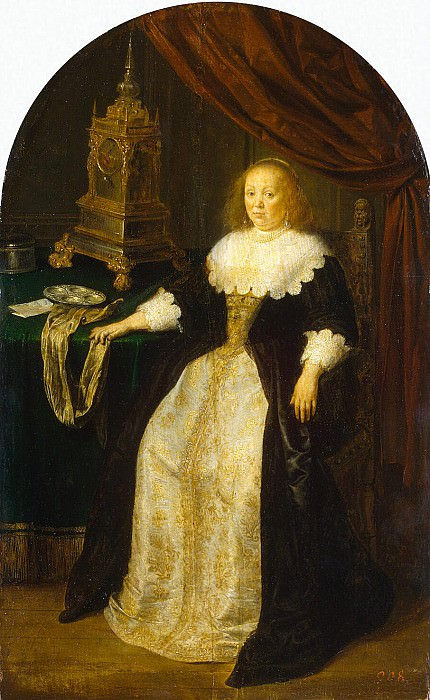Miris, Frans Jansz van the Elder. Portrait of a lady sitting at the table. Hermitage ~ part 08