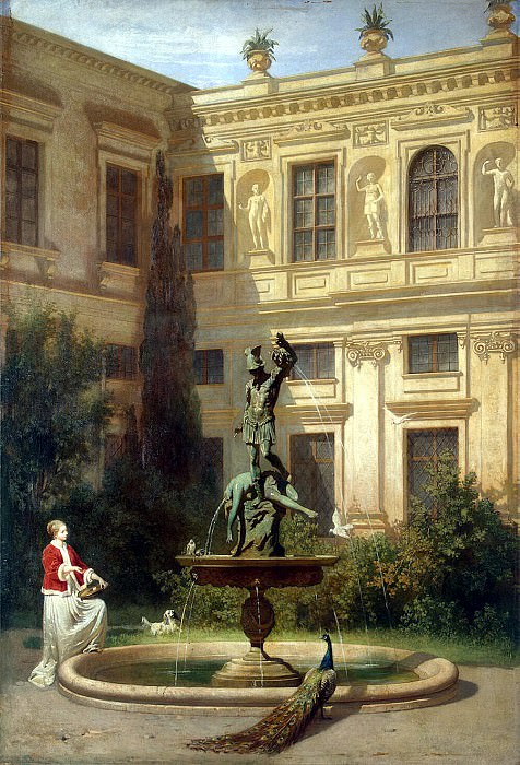 Mare, Hans von. Yard with a grotto in the Munich Royal Residence. Hermitage ~ part 08