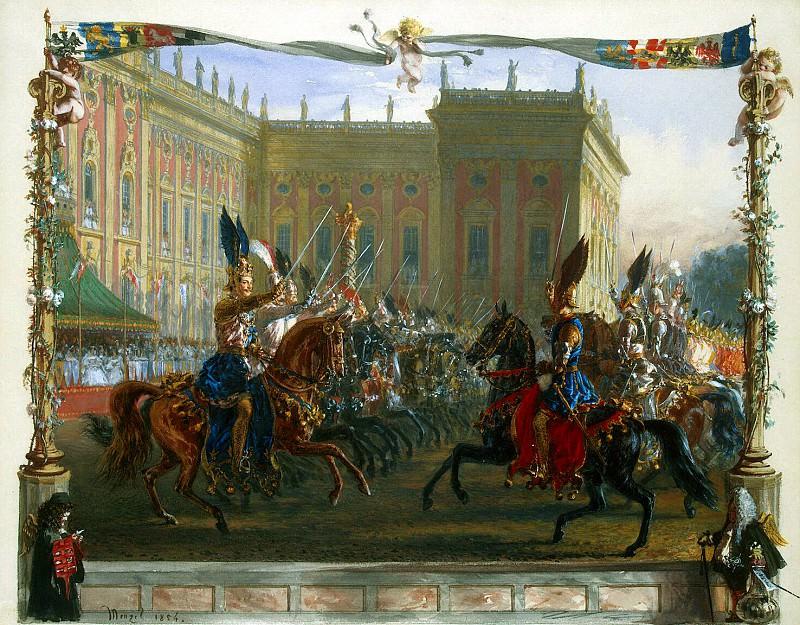 Menzel, Adolf von. Departure knights with drawn swords. 1829. Hermitage ~ part 08