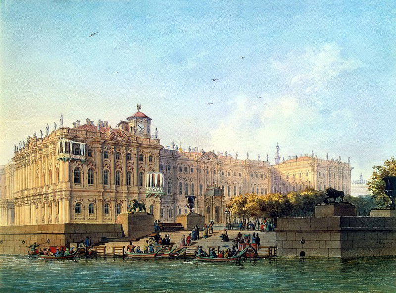 Bonstedt, Louis Franz Karl - Neva Embankment near the western facade of the Winter Palace. Hermitage ~ part 02