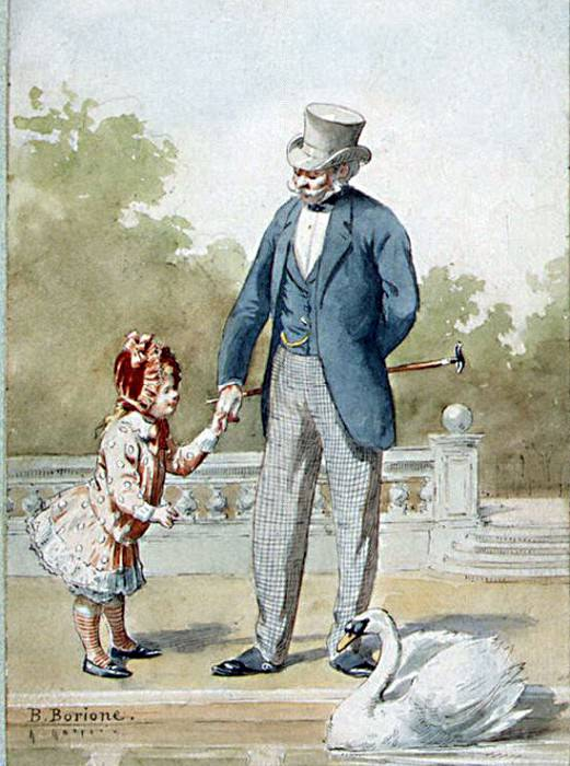 Borion, B. - Grandfather and granddaughter looking at a floating swan. Hermitage ~ part 02