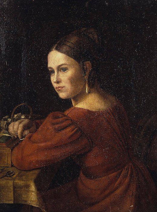 Warneke, Alexander Grigorievich - Portrait of a young woman in a dark red dress. Hermitage ~ part 02