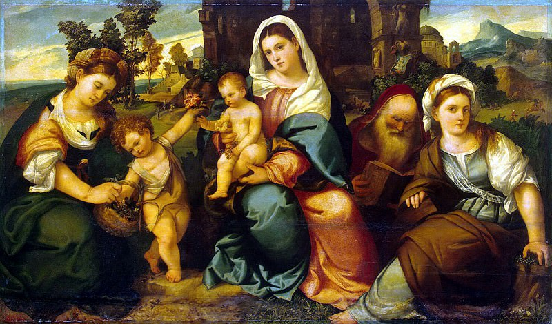 Bonifacio Veronese - Madonna and Child with St. Catherine, John the Baptist, Dorothea and Anthony Abbot. Hermitage ~ part 02